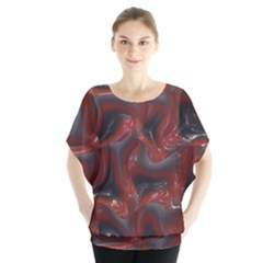 Red Grey 3d Design          Batwing Chiffon Blouse
