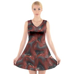 Red Grey 3d Design                                                                                V Neck Sleeveless Dress