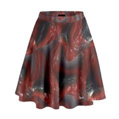 Red Grey 3d Design                                                                                      High Waist Skirt