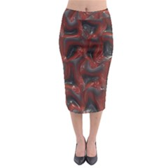 Red grey 3d design                                                                                      Midi Pencil Skirt