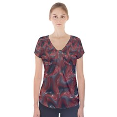 Red grey 3d design                     Short Sleeve Front Detail Top
