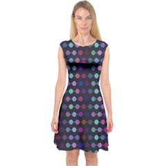 Connected Dots                   Capsleeve Midi Dress