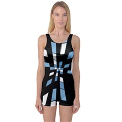Blue abstraction One Piece Boyleg Swimsuit