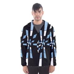Blue abstraction Hooded Wind Breaker (Men)