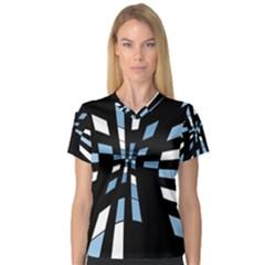 Blue abstraction Women s V-Neck Sport Mesh Tee