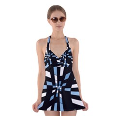Blue Abstraction Halter Swimsuit Dress