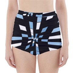 Blue Abstraction High Waisted Bikini Bottoms