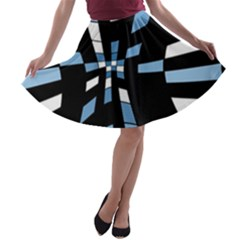 Blue Abstraction A Line Skater Skirt