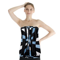 Blue Abstraction Strapless Top