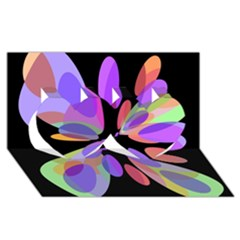 Colorful abstract flower Twin Hearts 3D Greeting Card (8x4)