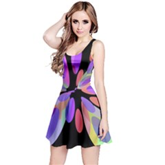 Colorful abstract flower Reversible Sleeveless Dress