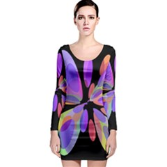 Colorful abstract flower Long Sleeve Bodycon Dress