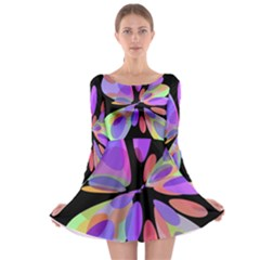 Colorful abstract flower Long Sleeve Skater Dress