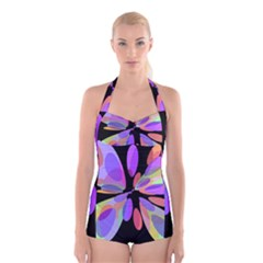 Colorful abstract flower Boyleg Halter Swimsuit
