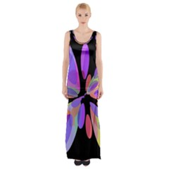 Colorful abstract flower Maxi Thigh Split Dress