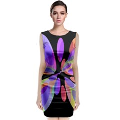 Colorful abstract flower Classic Sleeveless Midi Dress