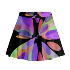 Colorful Abstract Flower Mini Flare Skirt