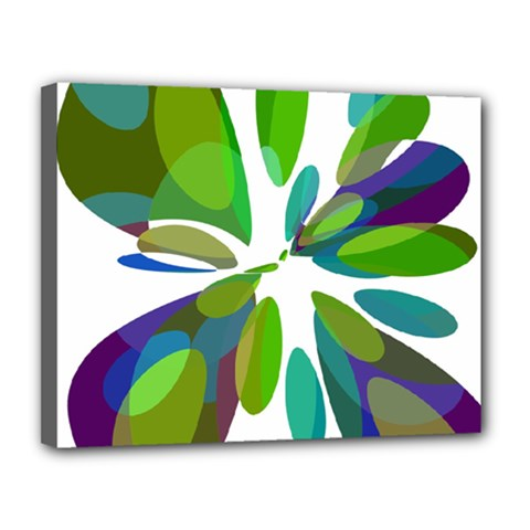 Green abstract flower Canvas 14  x 11