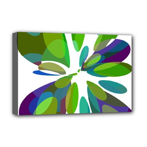 Green abstract flower Deluxe Canvas 18  x 12