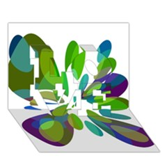 Green abstract flower LOVE 3D Greeting Card (7x5)