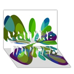 Green abstract flower YOU ARE INVITED 3D Greeting Card (7x5)