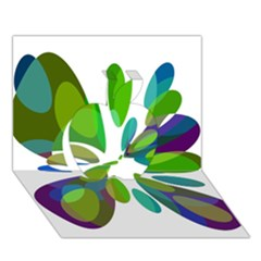 Green abstract flower Apple 3D Greeting Card (7x5)