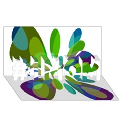 Green abstract flower #1 MOM 3D Greeting Cards (8x4)