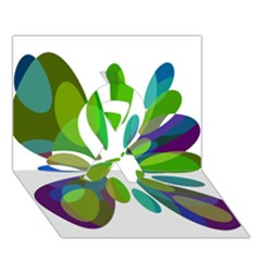Green abstract flower Ribbon 3D Greeting Card (7x5)