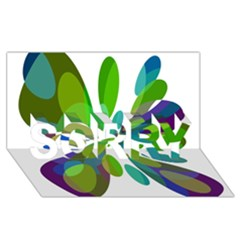 Green abstract flower SORRY 3D Greeting Card (8x4)
