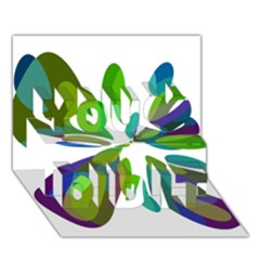 Green abstract flower You Did It 3D Greeting Card (7x5)