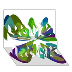 Green abstract flower You Rock 3D Greeting Card (7x5)
