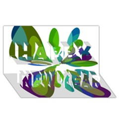 Green abstract flower Happy New Year 3D Greeting Card (8x4)