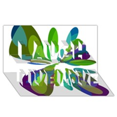 Green abstract flower Laugh Live Love 3D Greeting Card (8x4)