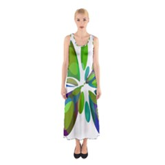 Green abstract flower Sleeveless Maxi Dress