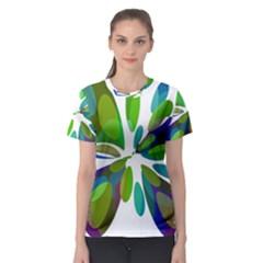 Green abstract flower Women s Sport Mesh Tee