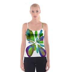 Green abstract flower Spaghetti Strap Top