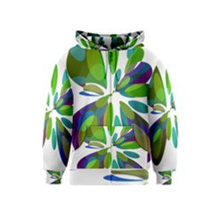 Green abstract flower Kids  Zipper Hoodie