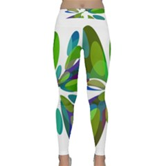 Green abstract flower Yoga Leggings