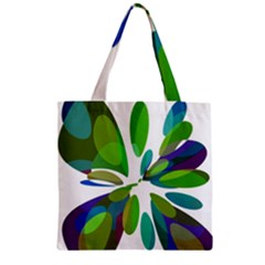 Green abstract flower Zipper Grocery Tote Bag