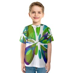 Green abstract flower Kid s Sport Mesh Tee