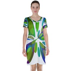 Green abstract flower Short Sleeve Nightdress