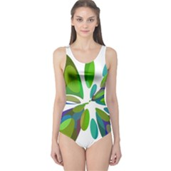 Green abstract flower One Piece Swimsuit