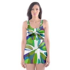 Green abstract flower Skater Dress Swimsuit
