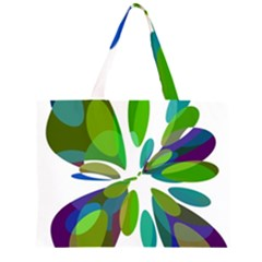 Green abstract flower Large Tote Bag