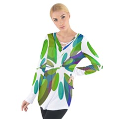 Green abstract flower Women s Tie Up Tee