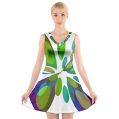 Green Abstract Flower V Neck Sleeveless Skater Dress