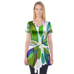 Green Abstract Flower Short Sleeve Tunic