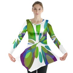 Green abstract flower Long Sleeve Tunic