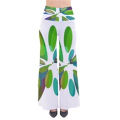 Green abstract flower Pants