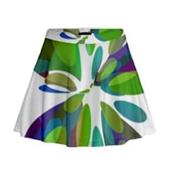 Green abstract flower Mini Flare Skirt